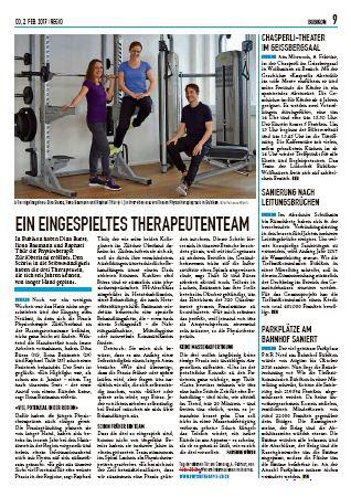 Physiotherapie ZüriOberland im Regio Februar 2017